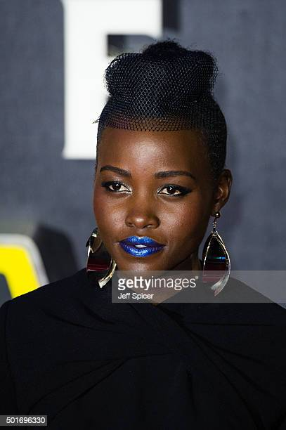 Lupita Nyong'o attends the European premiere of 'Star Wars The Force Awakens' at Leicester Square on December 16 2015 in London England