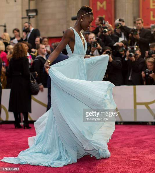 Lupita Nyong'o attends the Oscars at Hollywood Highland Center on March 2 2014 in Hollywood California
