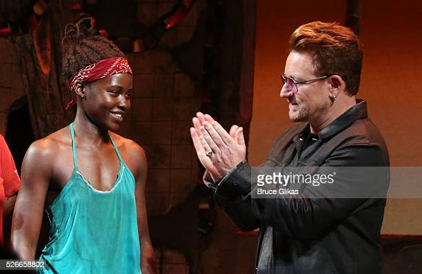 Lupita Nyong'o Bono and the cast of Broadway's 'Eclipsed' onstage as Bono visits 'Eclipsed' to launch a dedication series in honor of abducted Chibok...