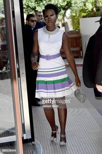 Lupita Nyong'o is spotted arriving at Hotel Martinez during the 70th annual Cannes Film Festival at on May 19 2017 in Cannes France