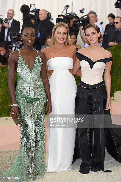 Lupita Nyong'o Margot Robbie and Emma Watson arrive for the 'Manus x Machina Fashion In An Age Of Technology' Costume Institute Gala at Metropolitan...