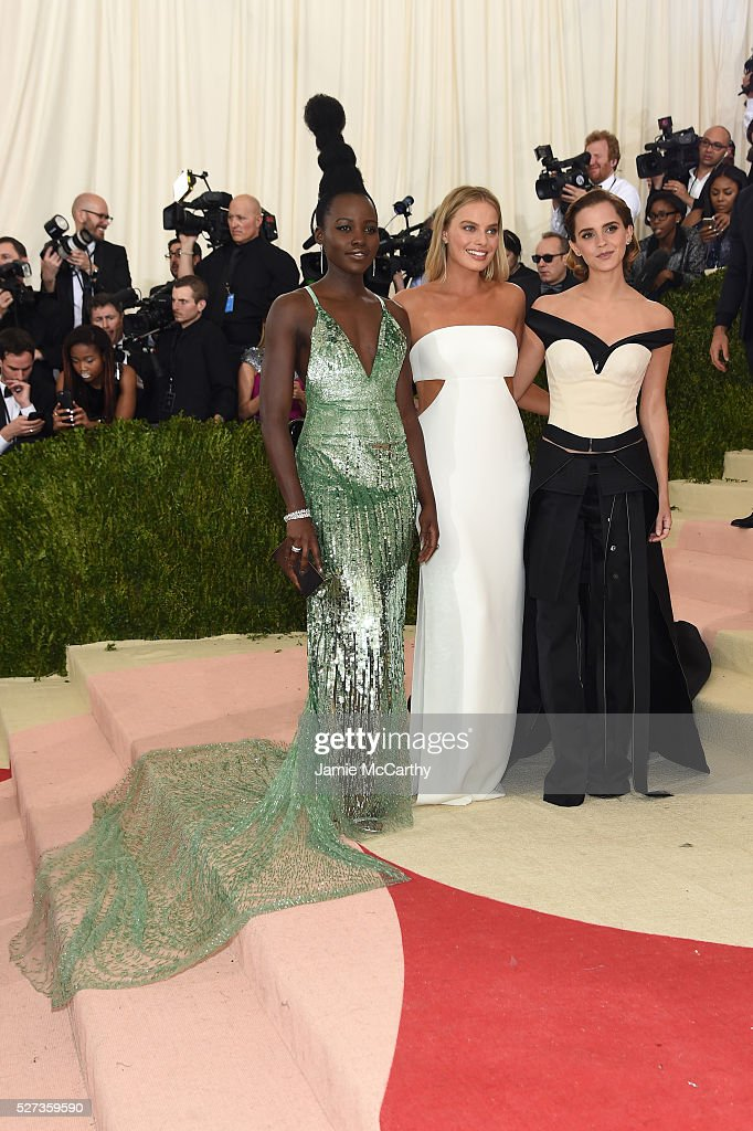 Lupita Nyong'o, Margot Robbie, and Emma Watson attend the 'Manus x Machina: Fashion In An Age Of Technology' Costume Institute Gala at Metropolitan Museum of Art on May 2, 2016 in New York City.