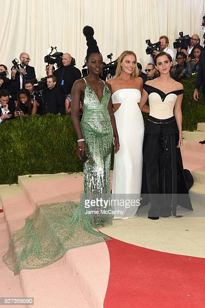 Lupita Nyong'o Margot Robbie and Emma Watson attend the 'Manus x Machina Fashion In An Age Of Technology' Costume Institute Gala at Metropolitan...