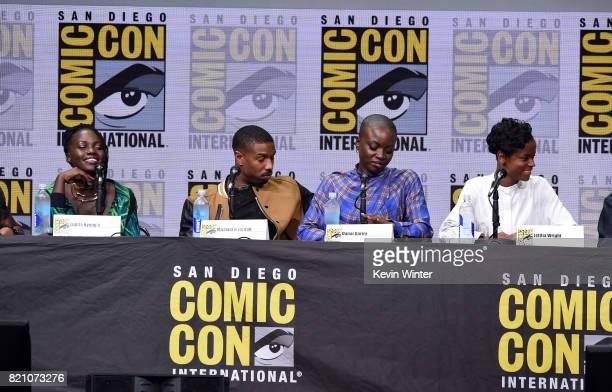 Lupita Nyong'o Michael B Jordan Danai Gurira and Letitia Wright from 'Black Panther' attends the Marvel Studios Presentation during ComicCon...