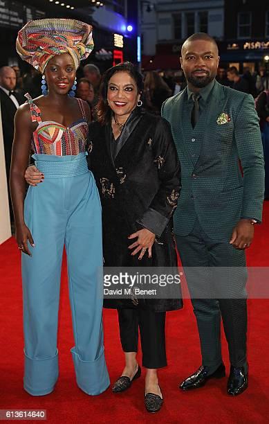 Lupita Nyong'o Mira Nair and David Oyelowo attend the 'Queen Of Katwe' Virgin Atlantic Gala screening during the 60th BFI London Film Festival at...