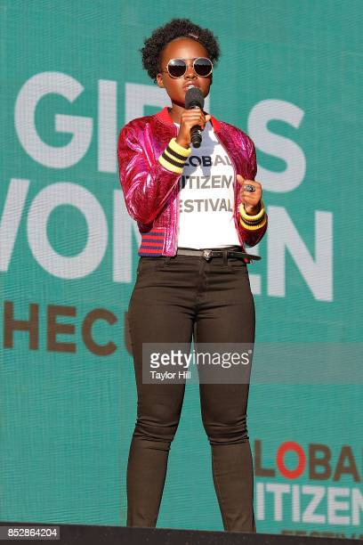 Lupita Nyong'o speaks during the 2017 Global Citizen Festival at The Great Lawn of Central Park on September 23 2017 in New York City
