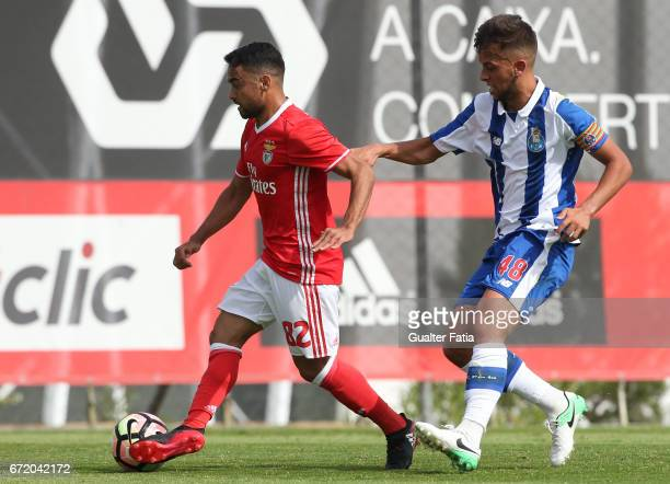 Luquinhas of SL Benfica B with Francisco Ramos of FC Porto B in action during the Segunda Liga match between SL Benfica B and FC Porto B at Caixa...