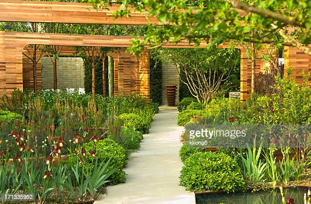 luscious designer horticulture garden in sunny afternoon