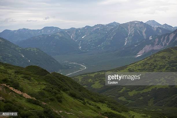 Lush mountainous landscape August 2007 in Kamchatka peninsula Russia