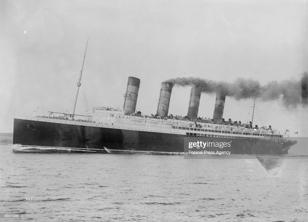 The British steamship, 'Lusitania' sunk by a German submarine on the 7th May 1915 with the loss of 1198 lives.