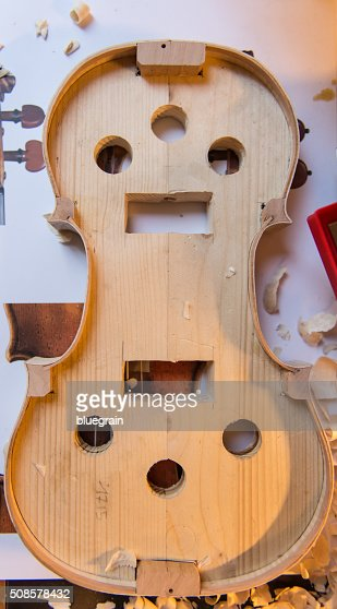 Lute maker building violin : Stock Photo