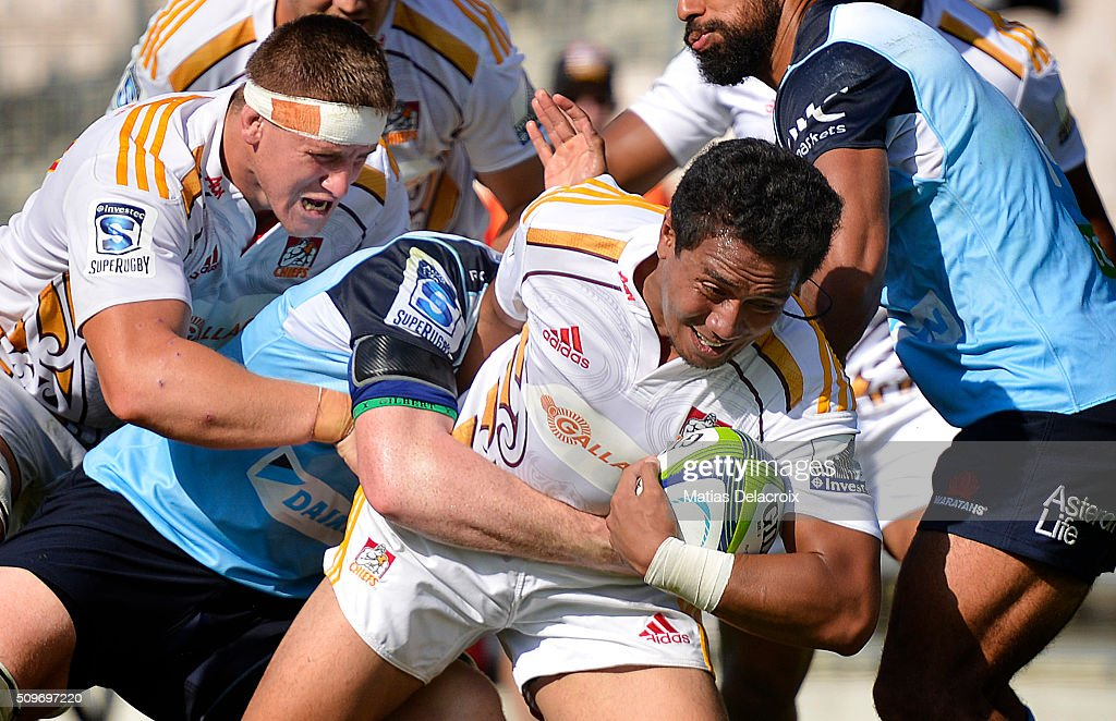 Luteru Laulala of Chiefs is tackled during the Super Rugby trial match between the Chiefs and the Waratahs at Rotorua International Stadium on February 12, 2016 in Rotorua, New Zealand.