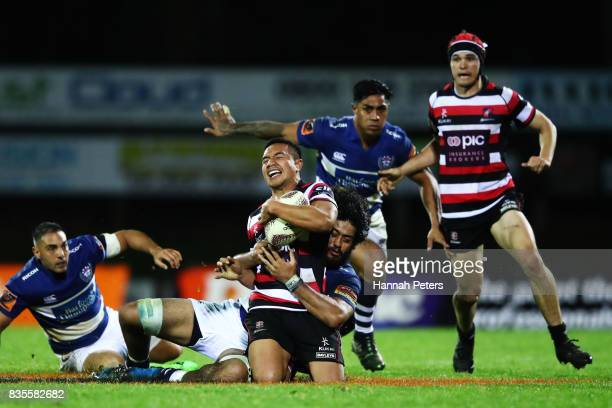 Luteru Laulala of Counties Manukau is brought down during the round one Mitre 10 Cup match between Counties Manukau and Auckland at ECOLight Stadium...