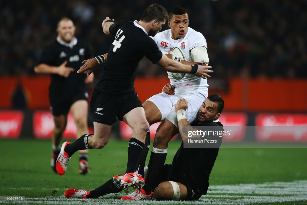 Luther Burrell charges forward of England during the International Test Match between the New Zealand All Blacks and England at Forsyth Barr Stadium on June 14, 2014 in Dunedin, New Zealand.