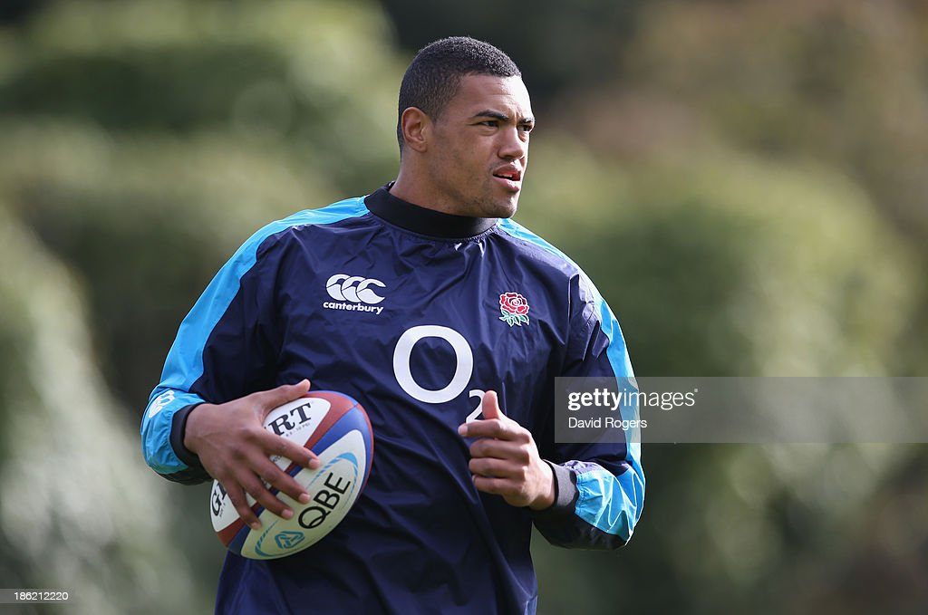 Luther Burrell holds the ball during the England training session held at Pennyhill Park on October 29, 2013 in Bagshot, England.