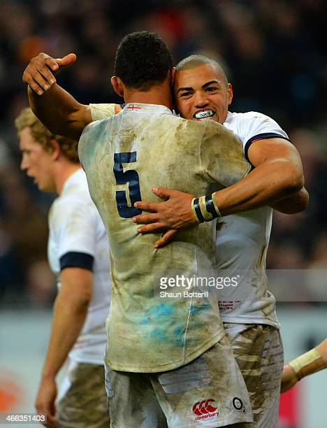 Luther Burrell of England celebrates his try with Courtney Lawes of England during the RBS Six Nations match between France and England at Stade de...