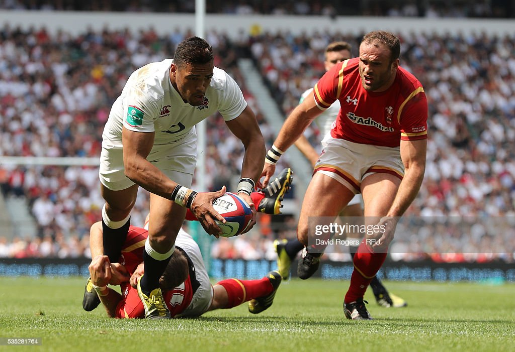<a gi-track='captionPersonalityLinkClicked' href=/galleries/search?phrase=Luther+Burrell&family=editorial&specificpeople=871965 ng-click='$event.stopPropagation()'>Luther Burrell</a> of England dives over for their first try during the England v Wales International match at Twickenham Stadium on May 29, 2016 in London, England.