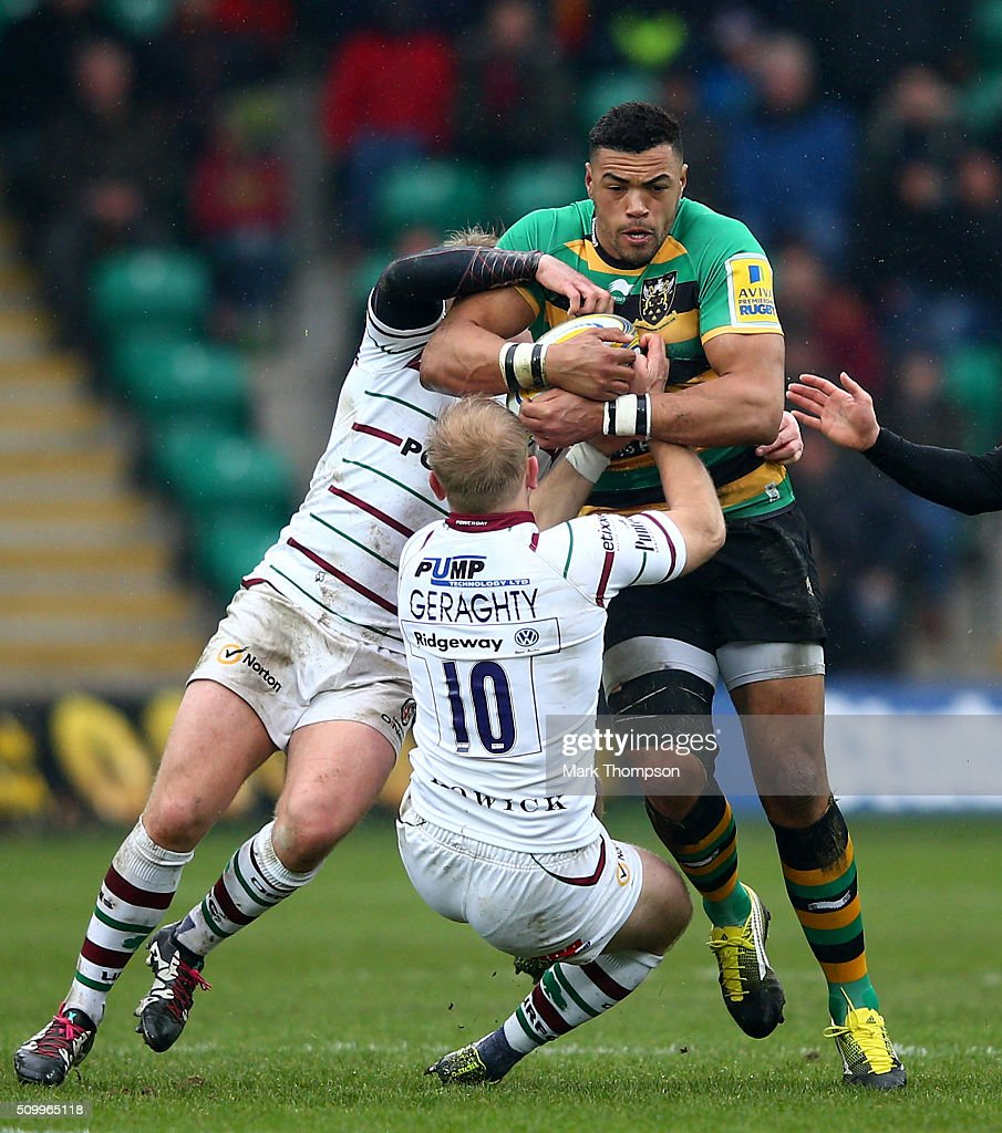 <a gi-track='captionPersonalityLinkClicked' href=/galleries/search?phrase=Luther+Burrell&family=editorial&specificpeople=871965 ng-click='$event.stopPropagation()'>Luther Burrell</a> of Northampton is tackled by <a gi-track='captionPersonalityLinkClicked' href=/galleries/search?phrase=Shane+Geraghty&family=editorial&specificpeople=697734 ng-click='$event.stopPropagation()'>Shane Geraghty</a> of London Irish during the Aviva Premiership match between Northampton Saints and London Irish at Franklins Gardens on February 13, 2016 in Northampton, England.
