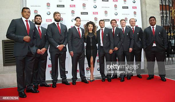 Luther Burrell Rob Webber Geoff Parling Brad Barritt Ella Eyre Richard Wigglesworth Lee Dickson Chris Ashton Matt Kvesic and Mako Vunipola pose prior...