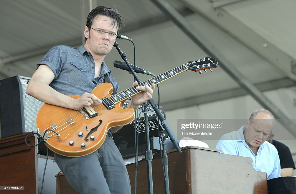 Luther Dickinson and John Medeski of The Word perform during the 2015 New Orleans Jazz Heritage Festival at Fair Grounds Race Course on April 30 2015...