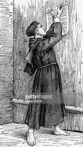Luther Martin German theologian nailing his ninetyfive Theses onto the door of the Castle Church in Wittenberg illustration by G Spangenberg