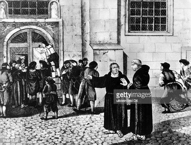 Luther Martin Priest Reformer D *1011148318021546 graphic illustration of the posting of the NinetyFive Theses at the Castle Church in Wittenberg...