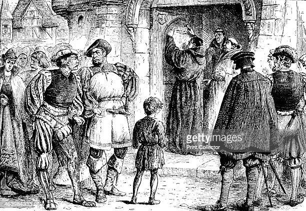 Luther's protest Martin Luther nailing his theses to the door of Wittenberg Church Engraving taken from the Harmsworth History of the World