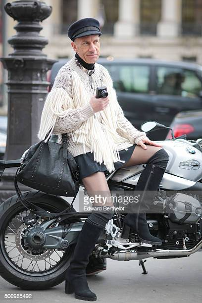 Lutin En Folie sitting on a BMW bike before the Chanel show during Paris Fashion Week Haute Couture Spring Summer 2016 on January 26 2016 in Paris...