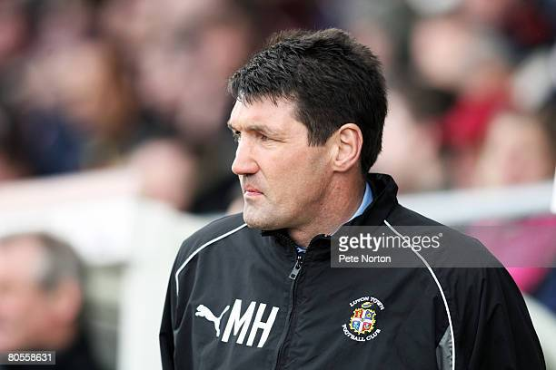 Luton Town manager Mick Harford looks on during the Coca Cola League One Match between Northampton Town and Luton Town at Sixfields Stadium on April...