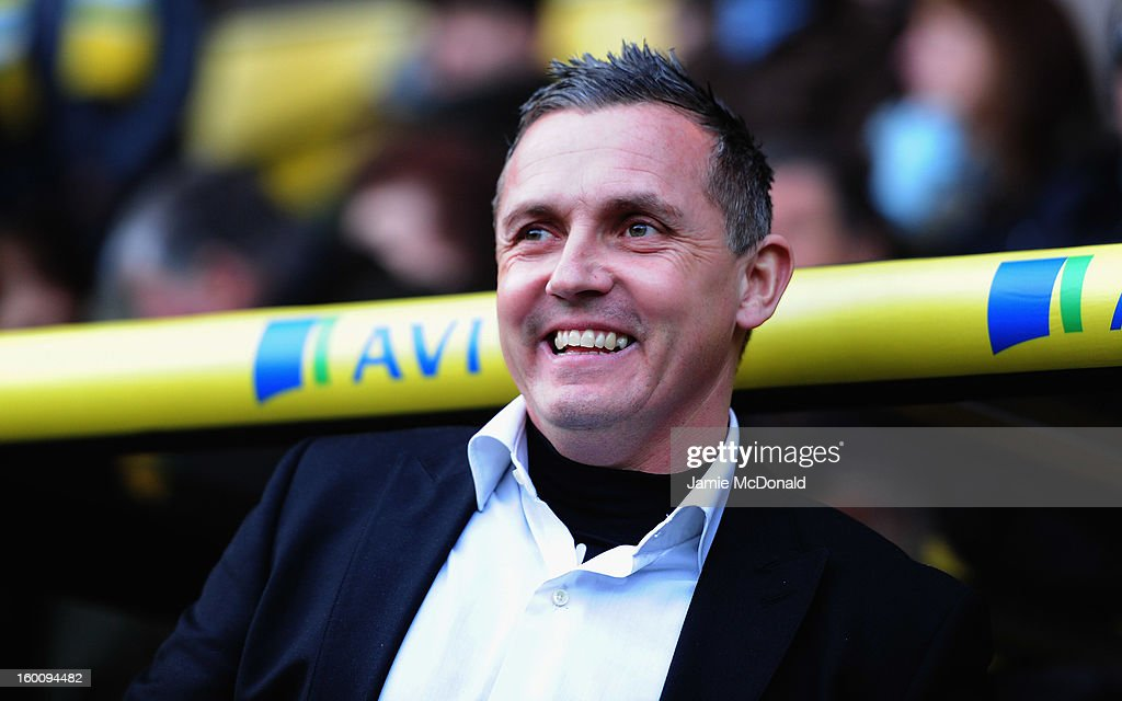 Luton Town manager Paul Buckle looks on during the FA Cup with Budweiser fourth round match between Norwich City and Luton Town at Carrow Road on January 26, 2013 in Norwich, England.