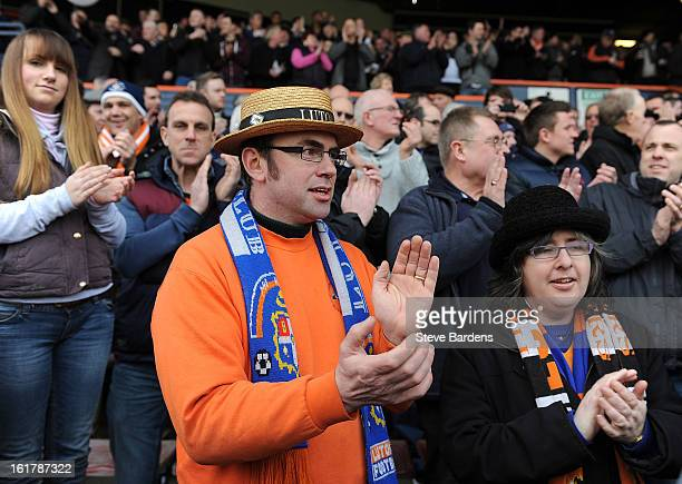 Luton Town supporter wears a straw hat as he enjoys the atmosphere before the FA Cup with Budweiser Fifth Round Match between Luton Town and Millwall...
