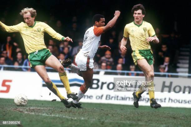 Luton Town's Brian Stein can't find a way past Norwich City's Greg Downs and Dave Watson