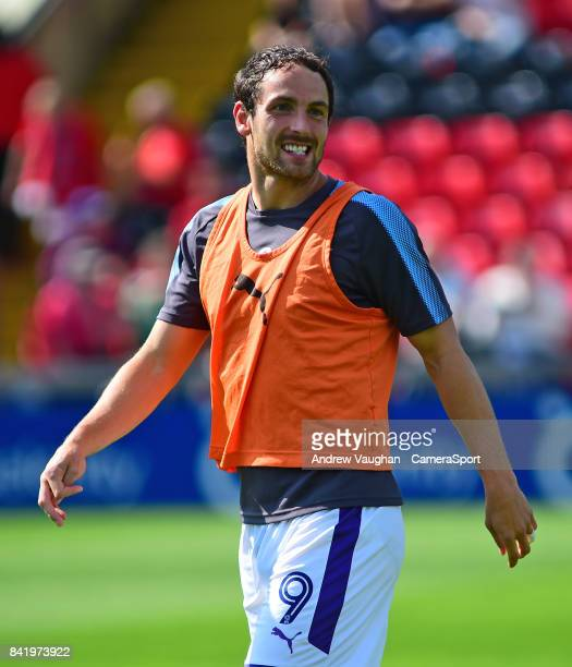 Luton Town's Danny Hylton during the prematch warmup prior to the Sky Bet League Two match between Lincoln City and Luton Town at Sincil Bank Stadium...