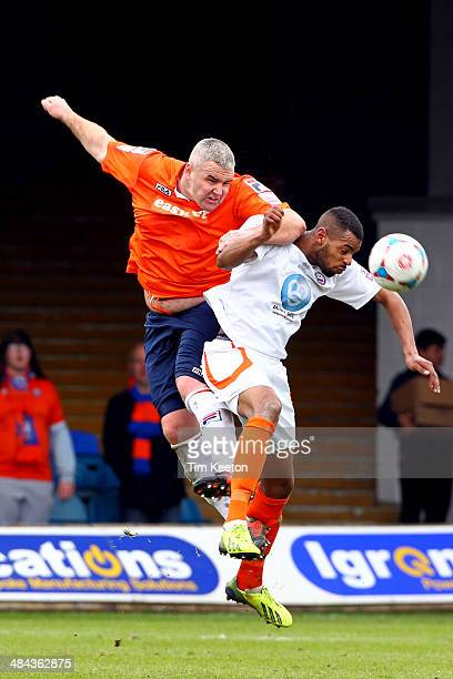 Luton Town's Steve McNulty and Braintree Town's Jordan Cox during the Skrill Conference Premier match between Luton Town and Braintree Town at...