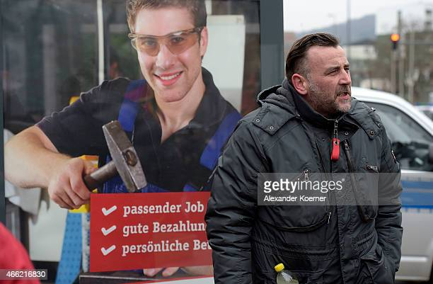 Lutz Bachmann Head of Pegida is seen at a public gathering on March 14 2015 in Wuppertal Germany Several hundred Salafis who in Germany are...