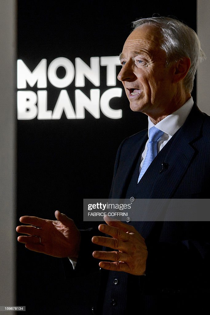 Lutz Bethge, CEO of Montblanc, part of luxury goods group Richemont, gestures during an interview on the opening day of the 'Salon International de la Haute Horlogerie' (SIHH) a professional fair in fine watchmaking on January 21, 2013 in Geneva. AFP PHOTO / FABRICE COFFRINI
