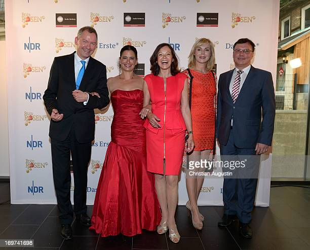 Lutz Marmor Sandra Speichert Angela Roy Saskia Valencia and Volker Herres attend 1500th episode celebration event at Palais Hotel Bergstroem on May...