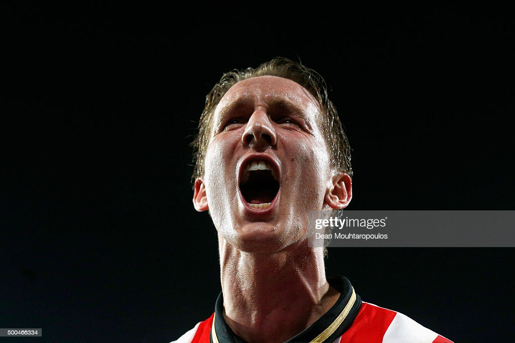 Luuk de Jong celebrates the goal from team mate Davy Propper of PSV during the group B UEFA Champions League match between PSV Eindhoven and CSKA Moscow held at Philips Stadium, on December 8, 2015 in Eindhoven, Netherlands.