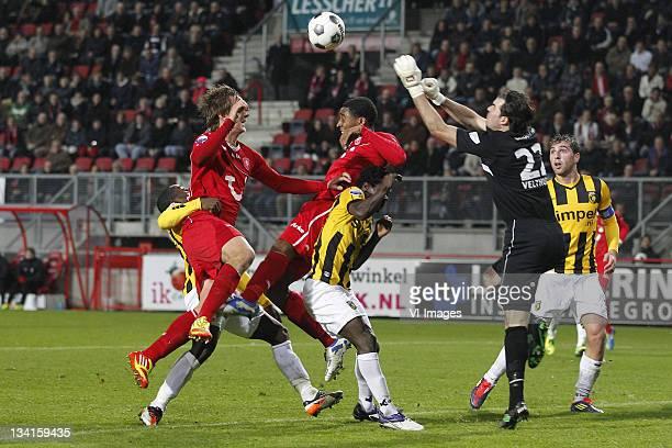 Luuk de Jong of FC Twente Leroy Fer of FC Twente Anthony Annan of Vitesse goalkeeper Piet Velthuizen of Vitesse and Guram Kashia of Vitesse in action...
