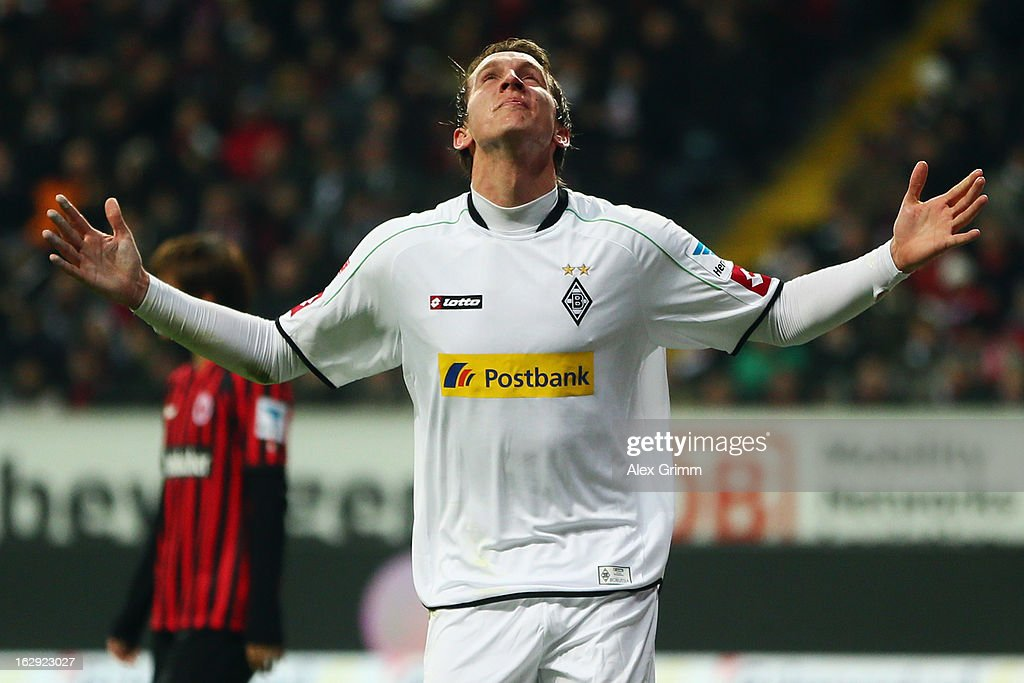 Luuk de Jong of Moenchengladbach celebrates his team's first goal during the Bundesliga match between Eintracht Frankfurt and Borussia Moenchengladbach at Commerzbank-Arena on March 1, 2013 in Frankfurt am Main, Germany.