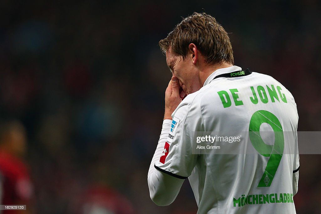 Luuk de Jong of Moenchengladbach reacts after scoring his team's first goal during the Bundesliga match between Eintracht Frankfurt and Borussia Moenchengladbach at Commerzbank-Arena on March 1, 2013 in Frankfurt am Main, Germany.