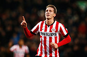 Luuk de Jong of PSV Eindhoven celebrates scoring his teams first goal of the game during the Eredivisie match between PSV Eindhoven and Feyenoord...