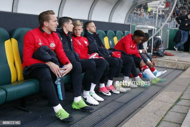 Luuk de Jong of PSV Menno Koch of PSV Oleksandr Zinchenko of PSV Bart Ramselaar of PSV Steven Bergwijn of PSV Pablo Rosario of PSVduring the Dutch...