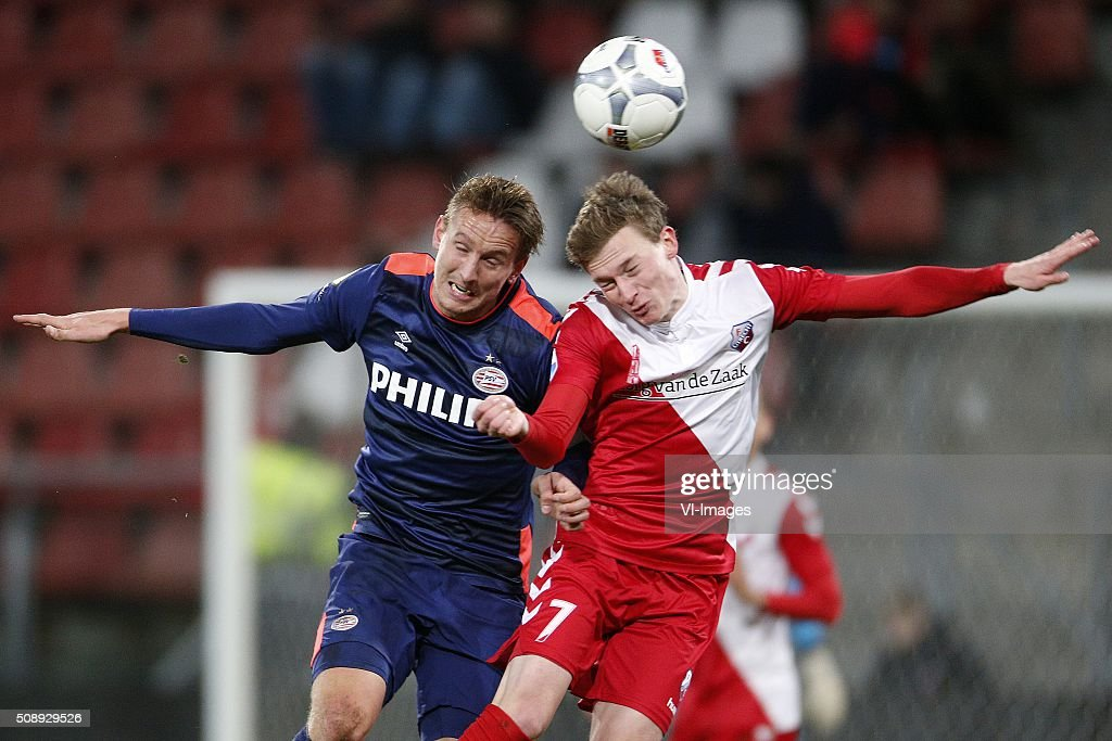 , Luuk de Jong of PSV, Rico Strieder of FC Utrecht during the Dutch Eredivisie match between FC Utrecht and PSV Eindhoven at the Galgenwaard Stadium on February 07, 2016 in Utrecht, The Netherlands