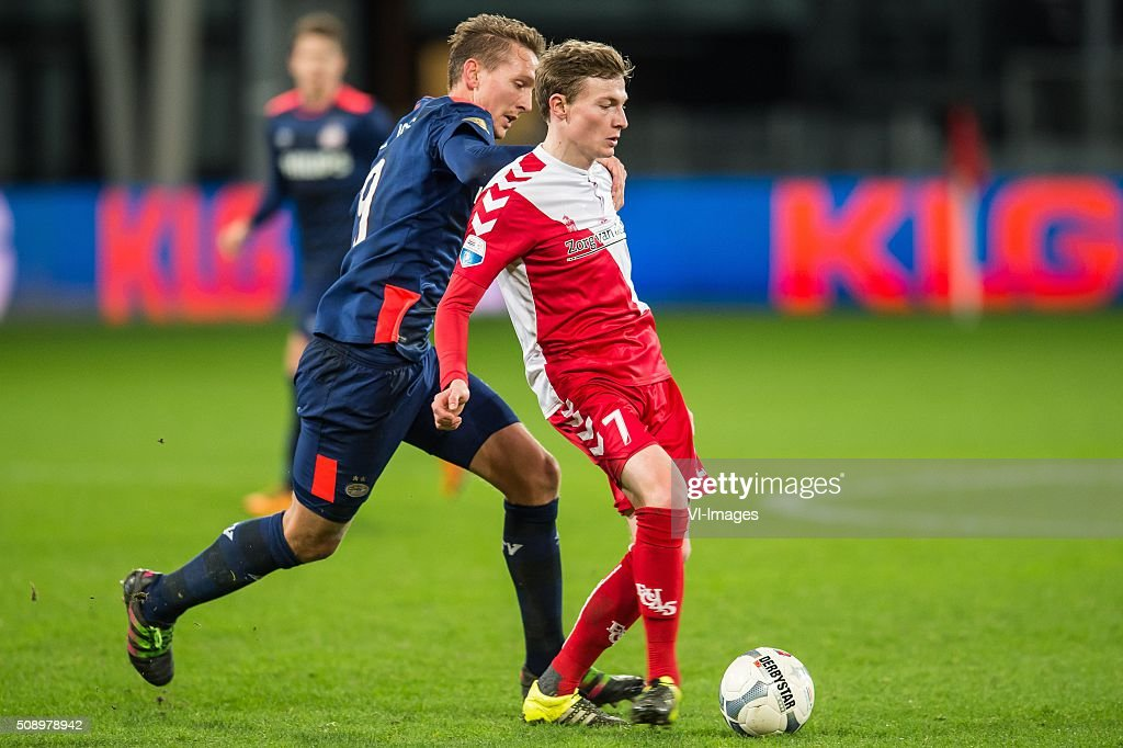 Luuk de Jong of PSV, Rico Strieder of FC Utrecht during the Dutch Eredivisie match between FC Utrecht and PSV Eindhoven at the Galgenwaard Stadium on February 07, 2016 in Utrecht, The Netherlands