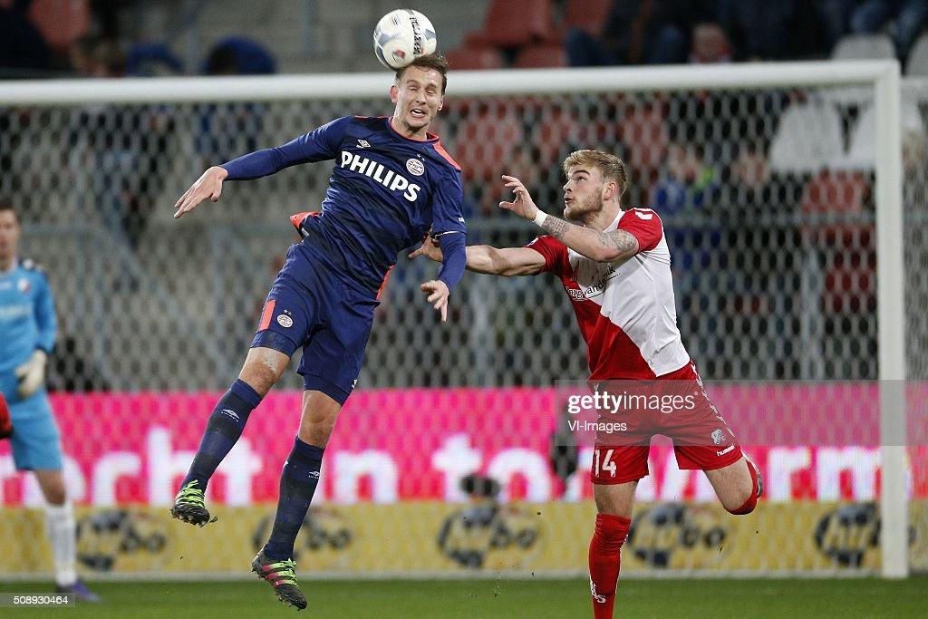 , Luuk de Jong of PSV, Timo Letschert of FC Utrecht during the Dutch Eredivisie match between FC Utrecht and PSV Eindhoven at the Galgenwaard Stadium on February 07, 2016 in Utrecht, The Netherlands