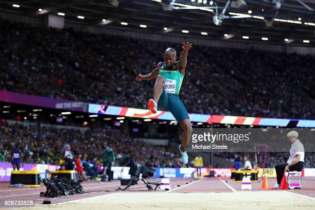 Luvo Manyonga of South Africa in action in the Mens Long Jump final during day two of the 16th IAAF World Athletics Championships London 2017 at The...