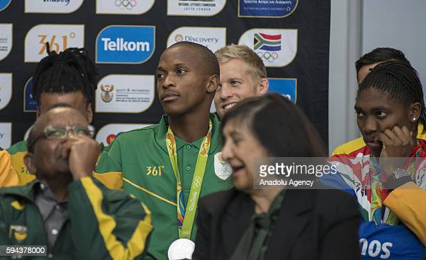 Luvo Manyonga who won silver medal in Men's long jump in Rio 2016 Olympic Games is welcomed by South Africans at O R Tambo International Airport in...