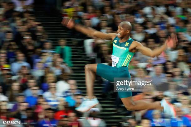 Luvo Mayonga of South Africa in action in the Men's Long Jump final during day two of the 16th IAAF World Athletics Championships London 2017 at The...