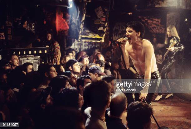 Lux Interior performs live on stage with The Cramps at CBGB's in New York on December 10 1993